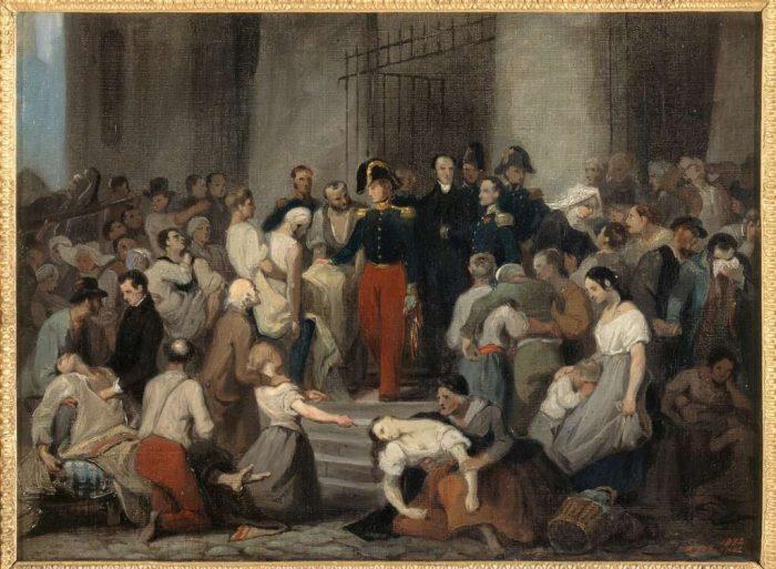 Alfred Johannot, Le duc d'Orléans visitant les malades de l'Hôtel-Dieu pendant l'épidémie de choléra en 1832, Paris, musée Carnavalet
