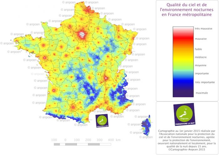 Fig. 2 : carte de la qualité du ciel et de l'environnement nocturnes - par l'Anpcen